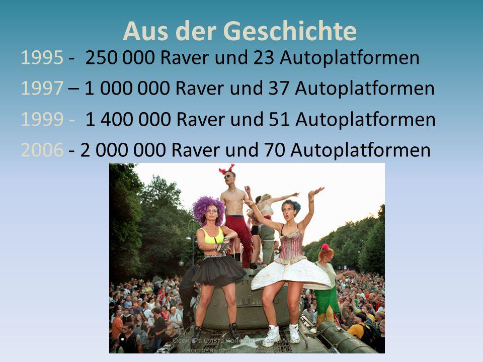 Aus der Geschichte 1995 - 250 000 Raver und 23 Autoplatformen 1997 – 1 000 000 Raver und 37 Autoplatformen 1999 - 1 400 000 Raver und 51 Autoplatforme