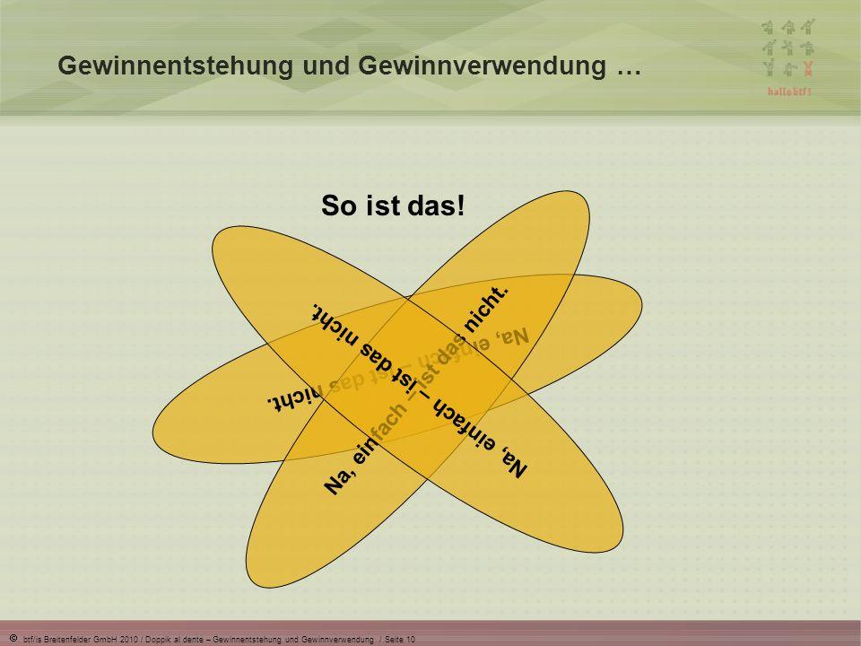 btf/is Breitenfelder GmbH 2010 / Doppik al dente – Gewinnentstehung und Gewinnverwendung / Seite 10 So ist das! Gewinnentstehung und Gewinnverwendung
