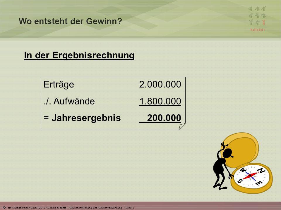btf/is Breitenfelder GmbH 2010 / Doppik al dente – Gewinnentstehung und Gewinnverwendung / Seite 3 Wo entsteht der Gewinn? In der Ergebnisrechnung Ert