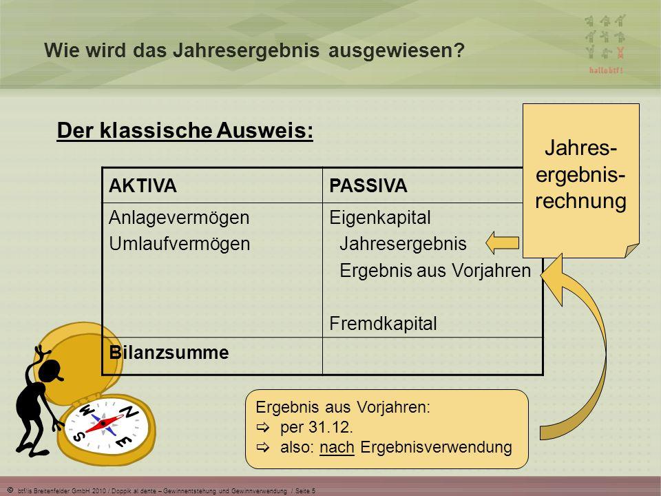 btf/is Breitenfelder GmbH 2010 / Doppik al dente – Gewinnentstehung und Gewinnverwendung / Seite 6 Wie wird das Jahresergebnis ausgewiesen.