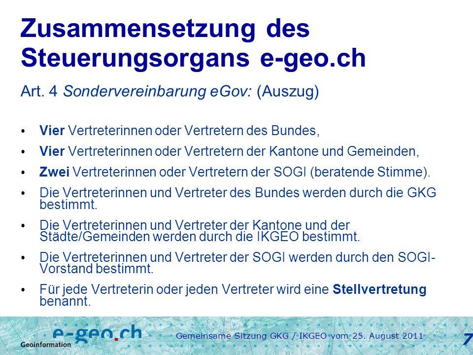 Gemeinsame Sitzung GKG / IKGEO vom 25.August 2011 8 Finanzierung Art.