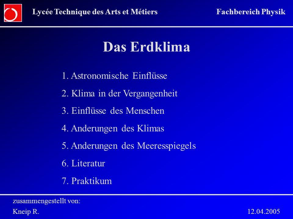 Das Erdklima zusammengestellt von: Kneip R. 12.04.2005 Lycée Technique des Arts et Métiers Fachbereich Physik 1. Astronomische Einflüsse 2. Klima in d