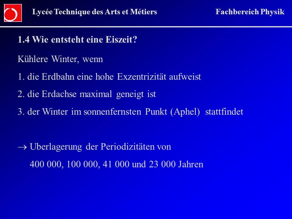 Lycée Technique des Arts et Métiers Fachbereich Physik 1.4 Wie entsteht eine Eiszeit? Kühlere Winter, wenn 1. die Erdbahn eine hohe Exzentrizität aufw