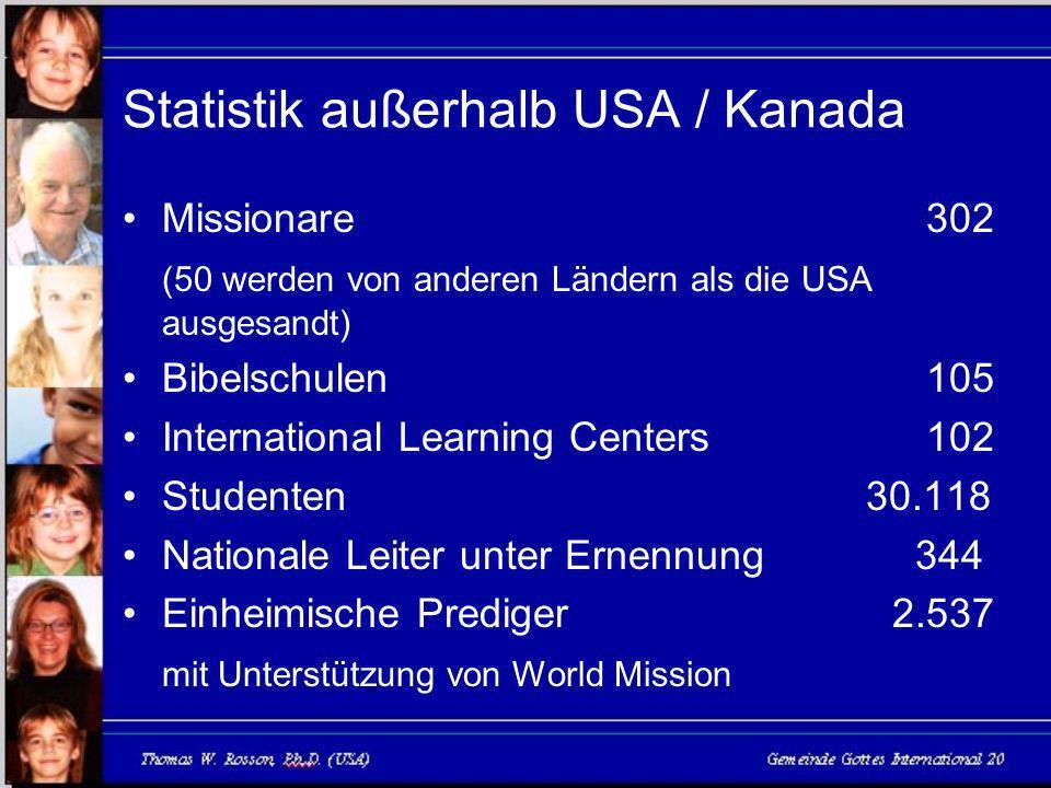 Statistik außerhalb USA / Kanada Missionare 302 (50 werden von anderen Ländern als die USA ausgesandt) Bibelschulen 105 International Learning Centers 102 Studenten 30.118 Nationale Leiter unter Ernennung 344 Einheimische Prediger 2.537 mit Unterstützung von World Mission