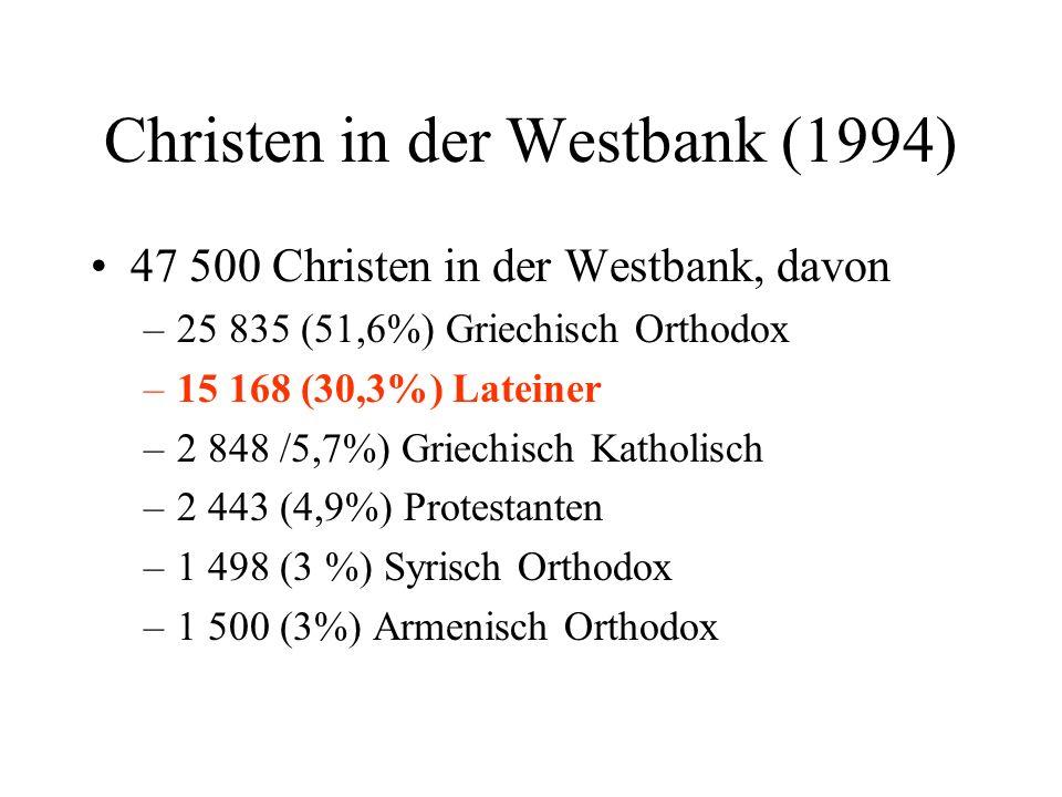 Christen in der Westbank (1994) 47 500 Christen in der Westbank, davon –25 835 (51,6%) Griechisch Orthodox –15 168 (30,3%) Lateiner –2 848 /5,7%) Grie