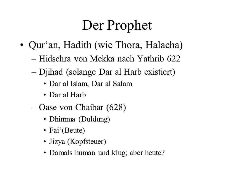 Der Prophet Quran, Hadith (wie Thora, Halacha) –Hidschra von Mekka nach Yathrib 622 –Djihad (solange Dar al Harb existiert) Dar al Islam, Dar al Salam