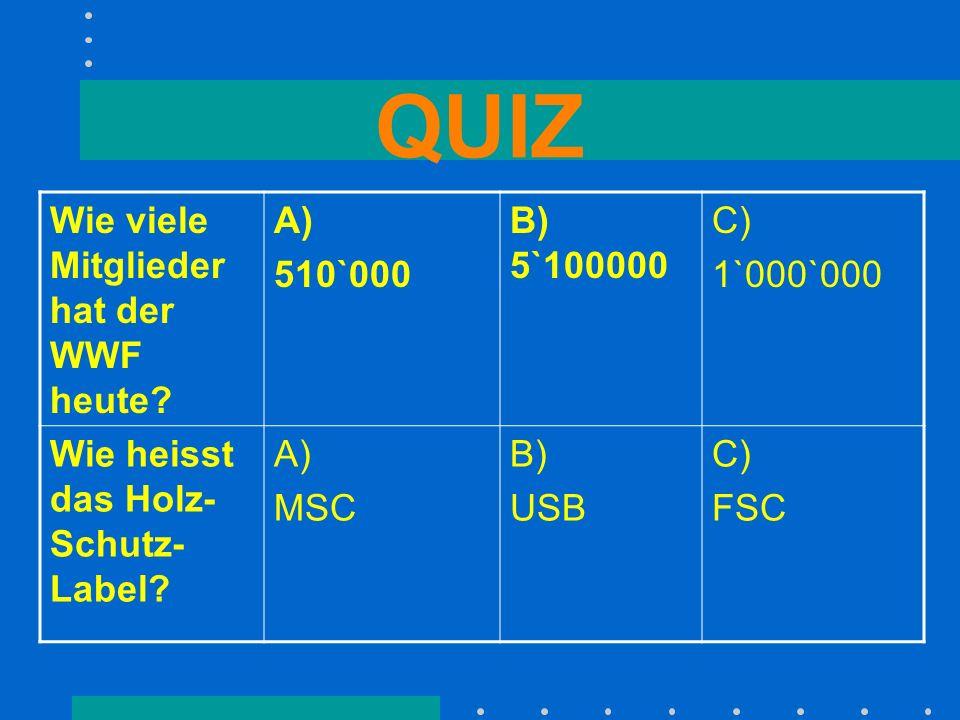 QUIZ Wie viele Mitglieder hat der WWF heute? A) 510`000 B) 5`100000 C) 1`000`000 Wie heisst das Holz- Schutz- Label? A) MSC B) USB C) FSC