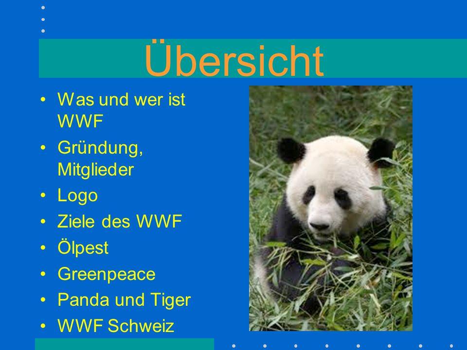 Übersicht Was und wer ist WWF Gründung, Mitglieder Logo Ziele des WWF Ölpest Greenpeace Panda und Tiger WWF Schweiz