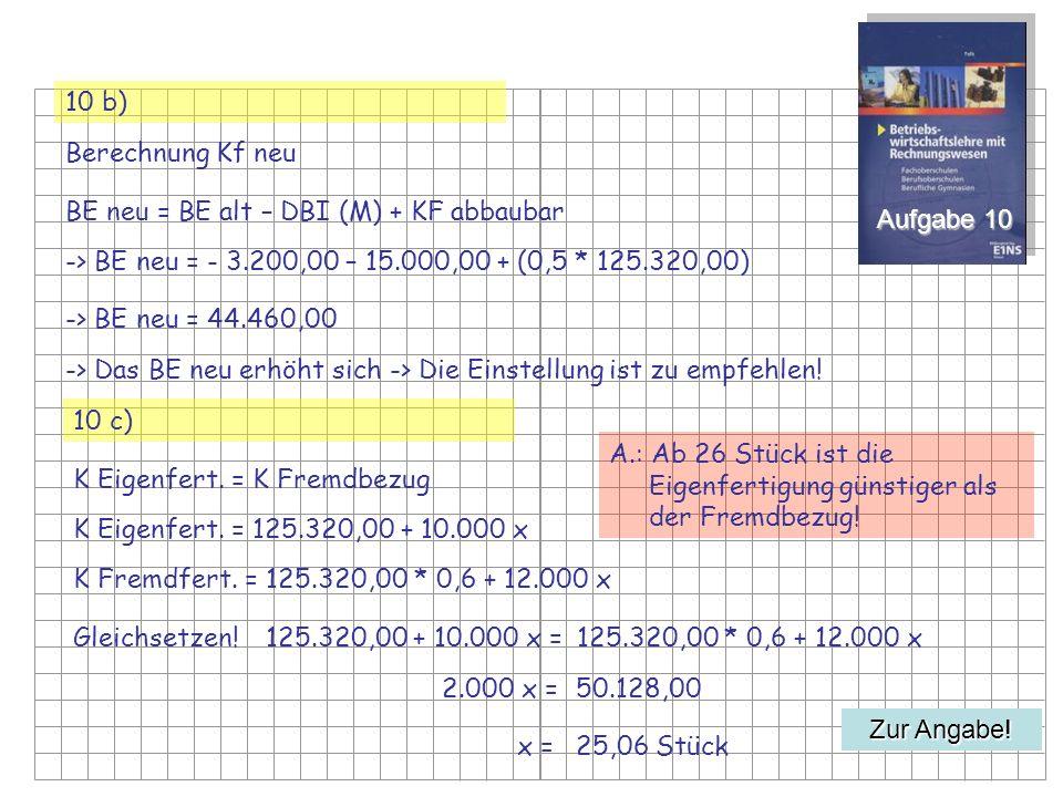 Aufgabe 10 10 b) Berechnung Kf neu BE neu = BE alt – DBI (M) + KF abbaubar -> BE neu = - 3.200,00 – 15.000,00 + (0,5 * 125.320,00) Zur Angabe.