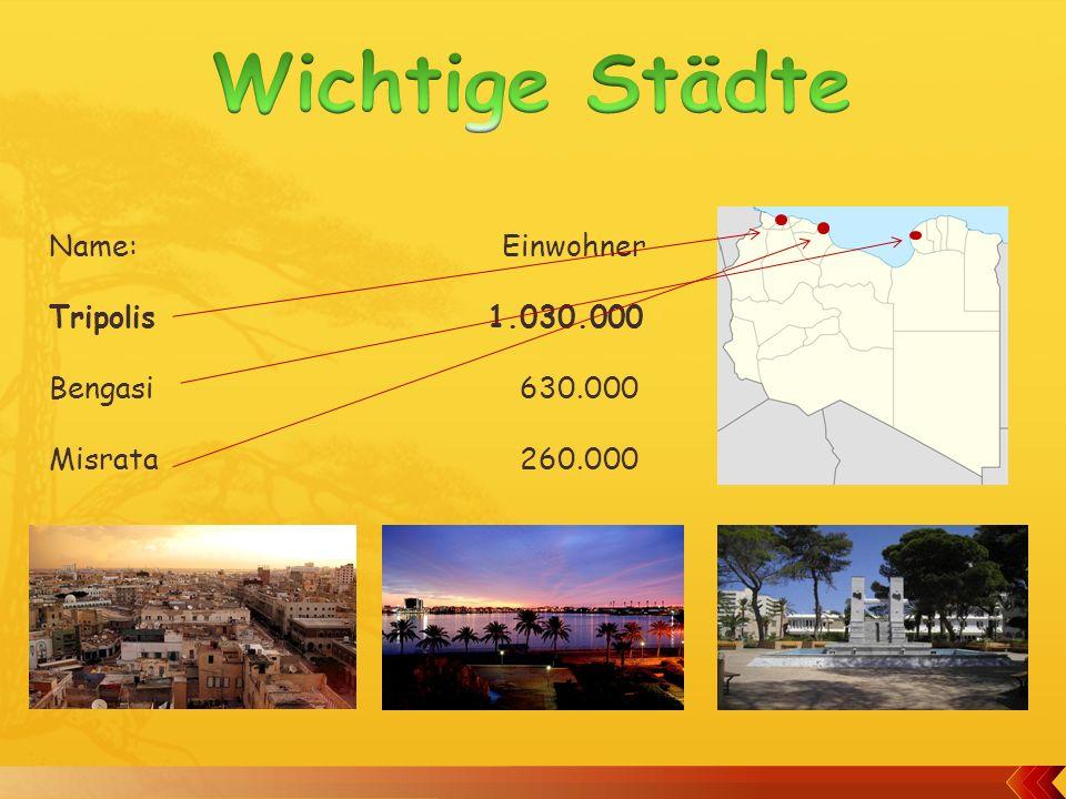 Fläche: 1.700.000 km2 Bevölkerung: 6.500.000 Amtssprache: Arabisch HDI: 0.755 Währung: Libyscher Dinar (1LYD = 0.75FR.) Bevölkerungsdichte: 3.3 Einwohner pro km2 Höchster Berg: Bette 2290 Meter ليبيا