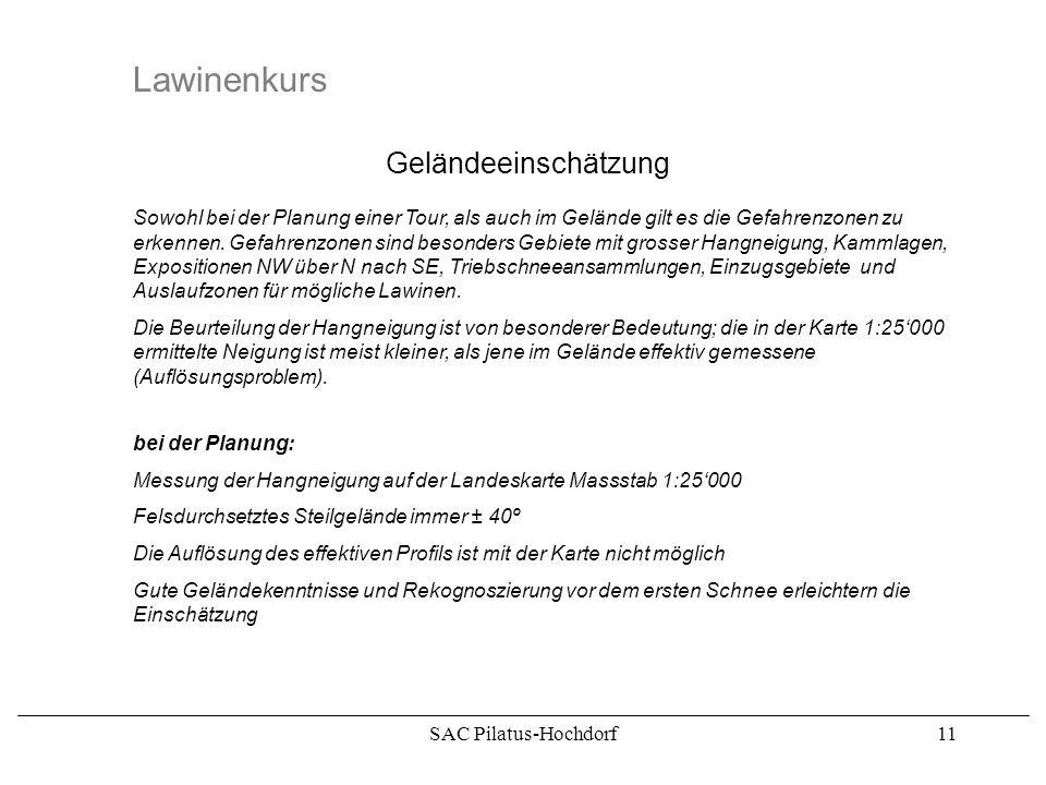 SAC Pilatus-Hochdorf10 Lawinenkurs Randzonen oberflächennahe Schwachstellen