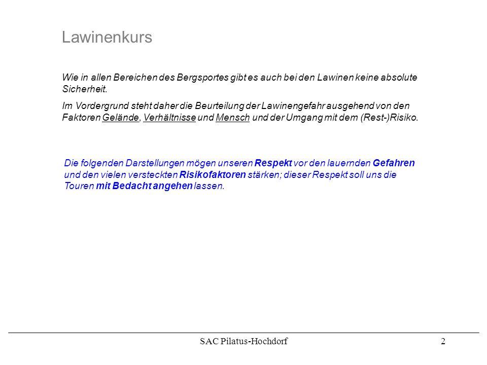 SAC Pilatus-Hochdorf2 Lawinenkurs Wie in allen Bereichen des Bergsportes gibt es auch bei den Lawinen keine absolute Sicherheit.