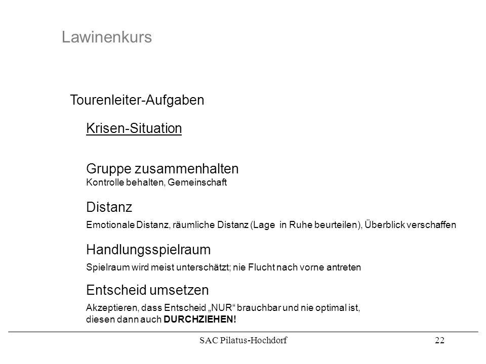 SAC Pilatus-Hochdorf21 Lawinenkurs Tourenleiter-Aufgaben Krisen-Situation Gruppe zusammenhalten Distanz Handlungsspielraum Entscheid umsetzen