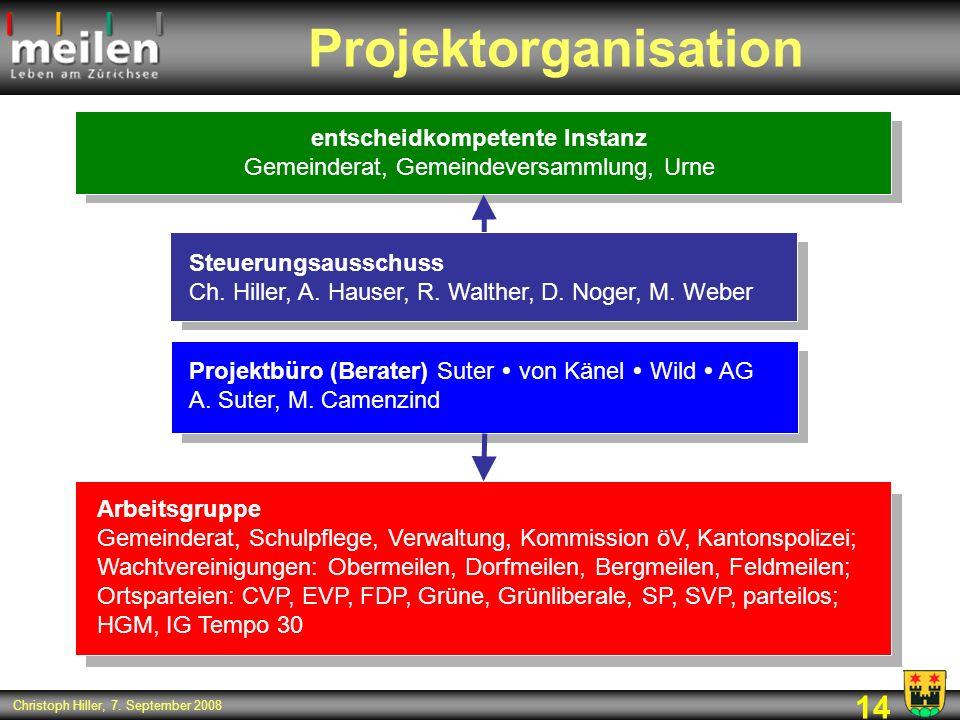 14 Christoph Hiller, 7. September 2008 Projektorganisation Arbeitsgruppe Gemeinderat, Schulpflege, Verwaltung, Kommission öV, Kantonspolizei; Wachtver