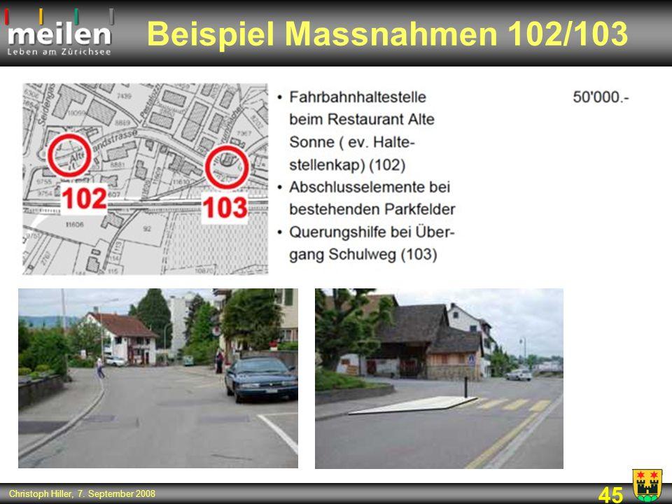 45 Christoph Hiller, 7. September 2008 Beispiel Massnahmen 102/103