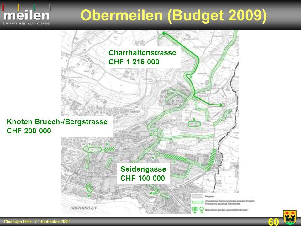 60 Christoph Hiller, 7. September 2008 Obermeilen (Budget 2009) Charrhaltenstrasse CHF 1 215 000 Seidengasse CHF 100 000 Knoten Bruech-/Bergstrasse CH