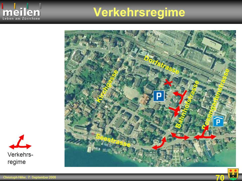 70 Christoph Hiller, 7. September 2008 Verkehrsregime Kirchgasse Dorfstrasse Bahnhofstrasse Rosengartenstrasse Seestrasse X Verkehrs- regime