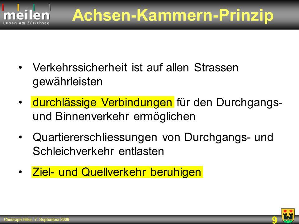 9 Christoph Hiller, 7. September 2008 Achsen-Kammern-Prinzip Verkehrssicherheit ist auf allen Strassen gewährleisten durchlässige Verbindungen für den