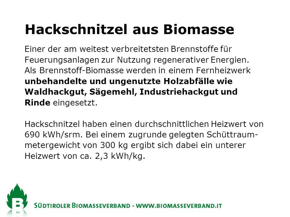 Hackschnitzel aus Biomasse Einer der am weitest verbreitetsten Brennstoffe für Feuerungsanlagen zur Nutzung regenerativer Energien.
