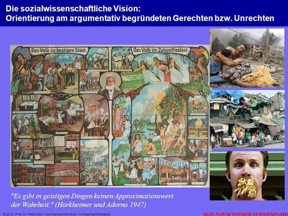 NUR ZUR INTERNEN VERWENDUNG © 2012 Prof. Dr. Peter Dürr, Hochschule München, Vortrag Nachhaltigkeit 11 Die sozialwissenschaftliche Vision: Orientierun