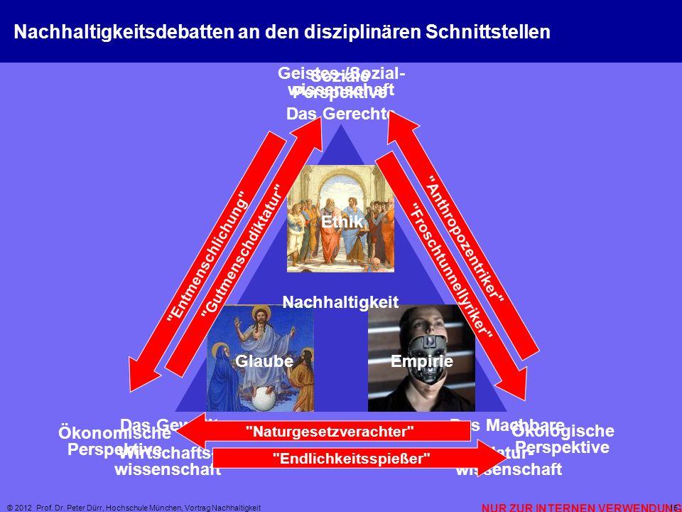 NUR ZUR INTERNEN VERWENDUNG © 2012 Prof. Dr. Peter Dürr, Hochschule München, Vortrag Nachhaltigkeit 15 Nachhaltigkeitsdebatten an den disziplinären Sc
