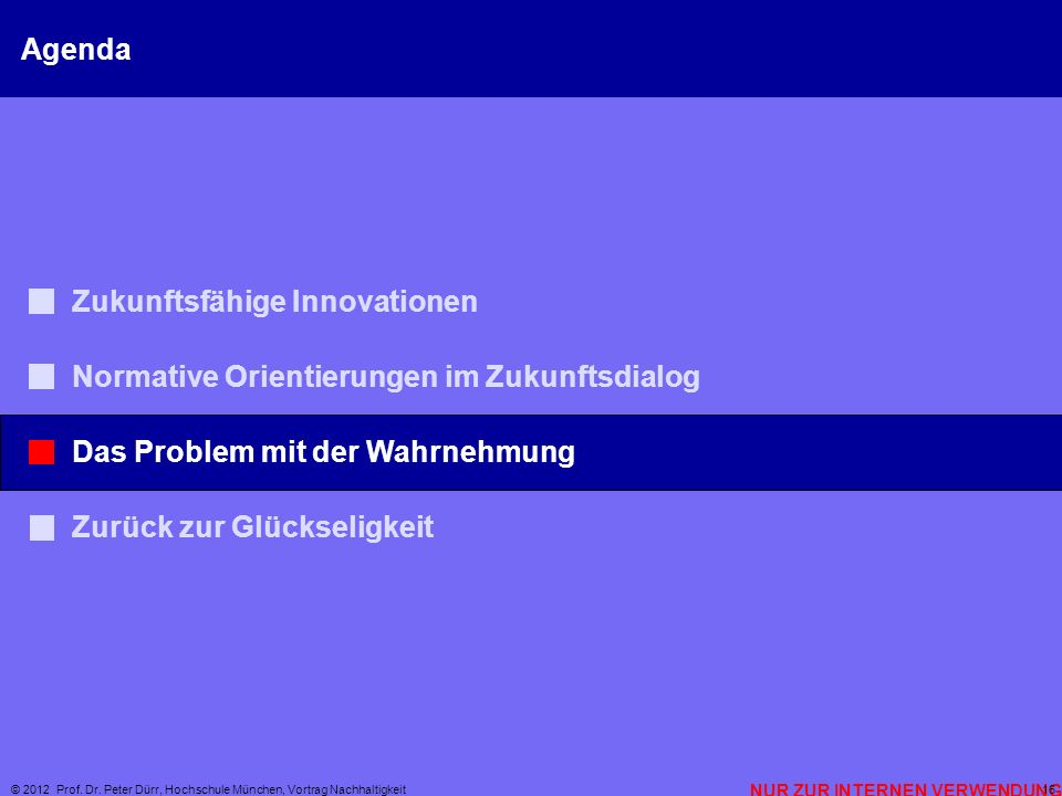 NUR ZUR INTERNEN VERWENDUNG © 2012 Prof. Dr. Peter Dürr, Hochschule München, Vortrag Nachhaltigkeit 16 Agenda Zukunftsfähige Innovationen Normative Or