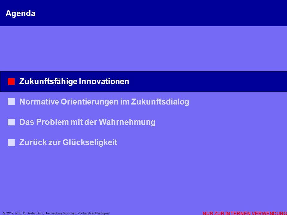 NUR ZUR INTERNEN VERWENDUNG © 2012 Prof. Dr. Peter Dürr, Hochschule München, Vortrag Nachhaltigkeit 3 Agenda Zukunftsfähige Innovationen Normative Ori