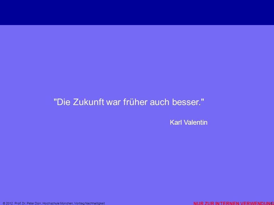 NUR ZUR INTERNEN VERWENDUNG © 2012 Prof. Dr. Peter Dürr, Hochschule München, Vortrag Nachhaltigkeit 5