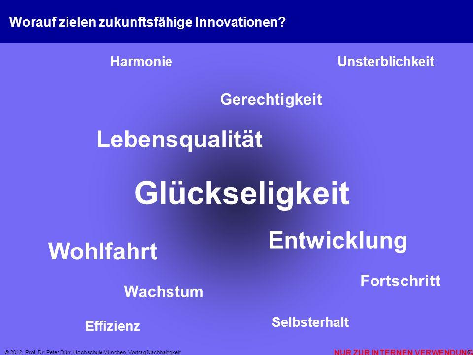 NUR ZUR INTERNEN VERWENDUNG © 2012 Prof. Dr. Peter Dürr, Hochschule München, Vortrag Nachhaltigkeit 6 Worauf zielen zukunftsfähige Innovationen? Wohlf