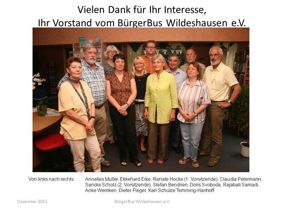 Vielen Dank für Ihr Interesse, Ihr Vorstand vom BürgerBus Wildeshausen e.V. Dezember 2011BürgerBus Wildeshausen e.V. Von links nach rechts:Annelies Mü