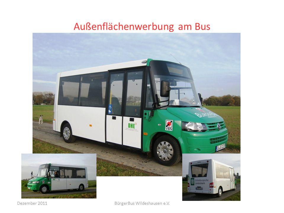 Außenflächenwerbung am Bus Dezember 2011BürgerBus Wildeshausen e.V.