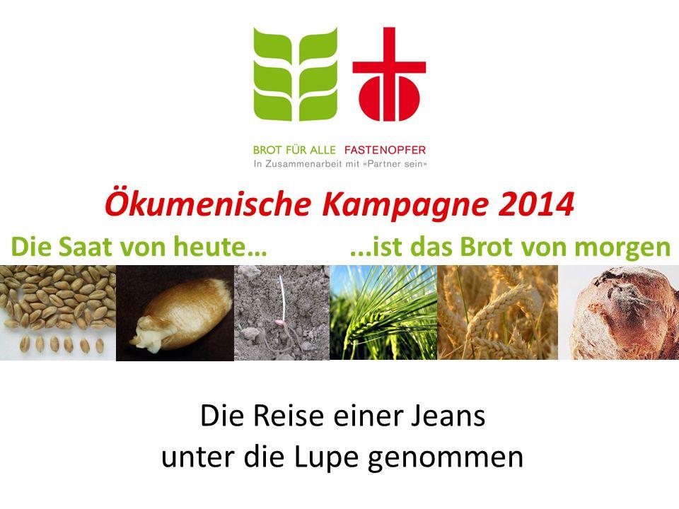 Ökumenische Kampagne 2014 Die Saat von heute…...ist das Brot von morgen Die Reise einer Jeans unter die Lupe genommen