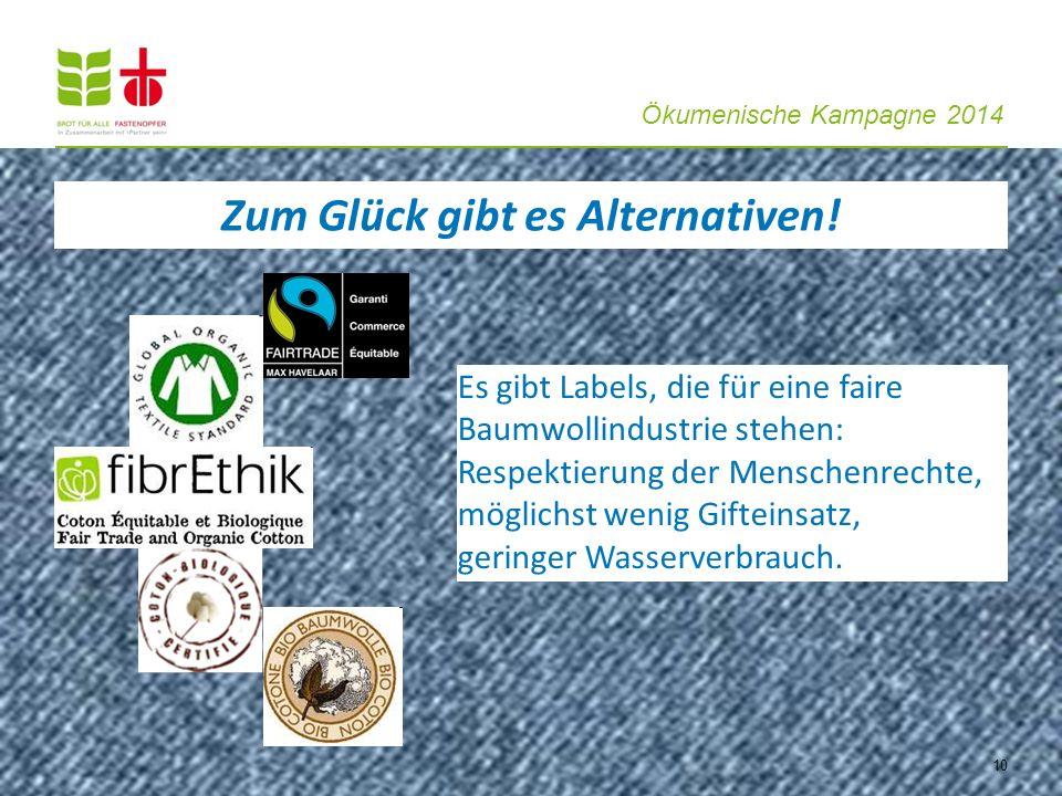 Ökumenische Kampagne 2014 Es gibt Labels, die für eine faire Baumwollindustrie stehen: Respektierung der Menschenrechte, möglichst wenig Gifteinsatz,