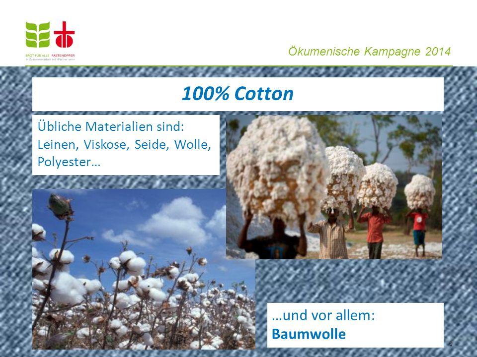 Ökumenische Kampagne 2014 Übliche Materialien sind: Leinen, Viskose, Seide, Wolle, Polyester… …und vor allem: Baumwolle 6 100% Cotton