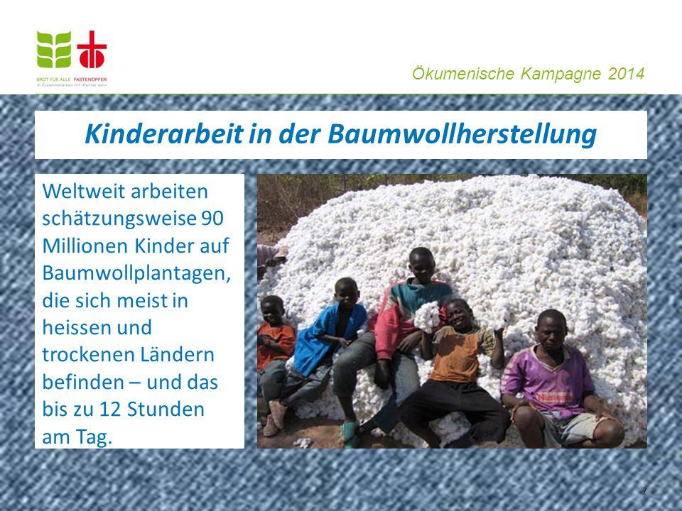 Ökumenische Kampagne 2014 Weltweit arbeiten schätzungsweise 90 Millionen Kinder auf Baumwollplantagen, die sich meist in heissen und trockenen Ländern