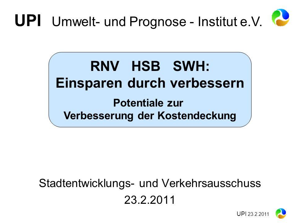 UPI 23.2.2011 Stadtentwicklungs- und Verkehrsausschuss 23.2.2011 UPI Umwelt- und Prognose - Institut e.V. RNV HSB SWH: Einsparen durch verbessern Pote
