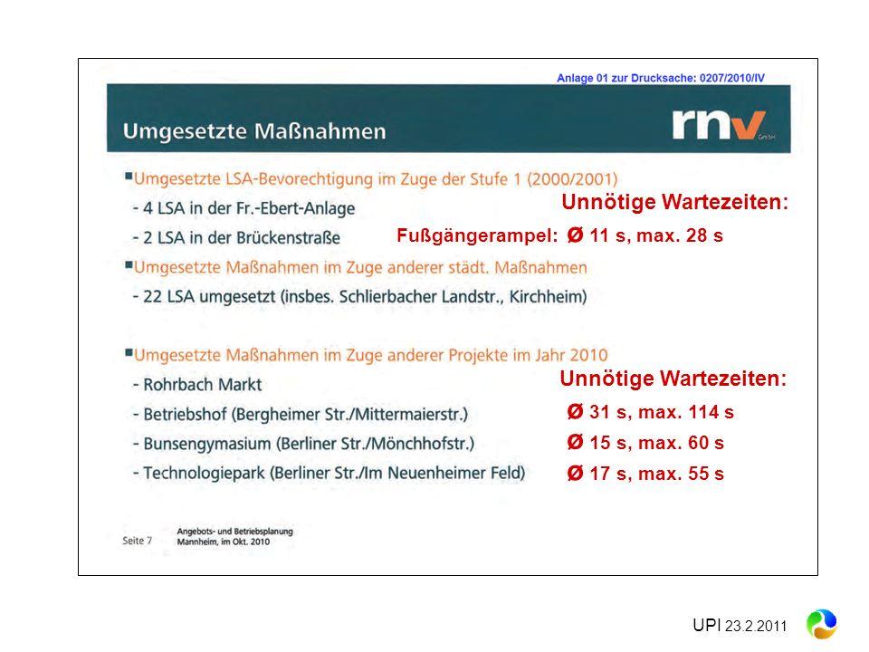 UPI 23.2.2011 Unnötige Wartezeiten: ø 31 s, max. 114 s ø 15 s, max. 60 s ø 17 s, max. 55 s Unnötige Wartezeiten: Fußgängerampel: ø 11 s, max. 28 s