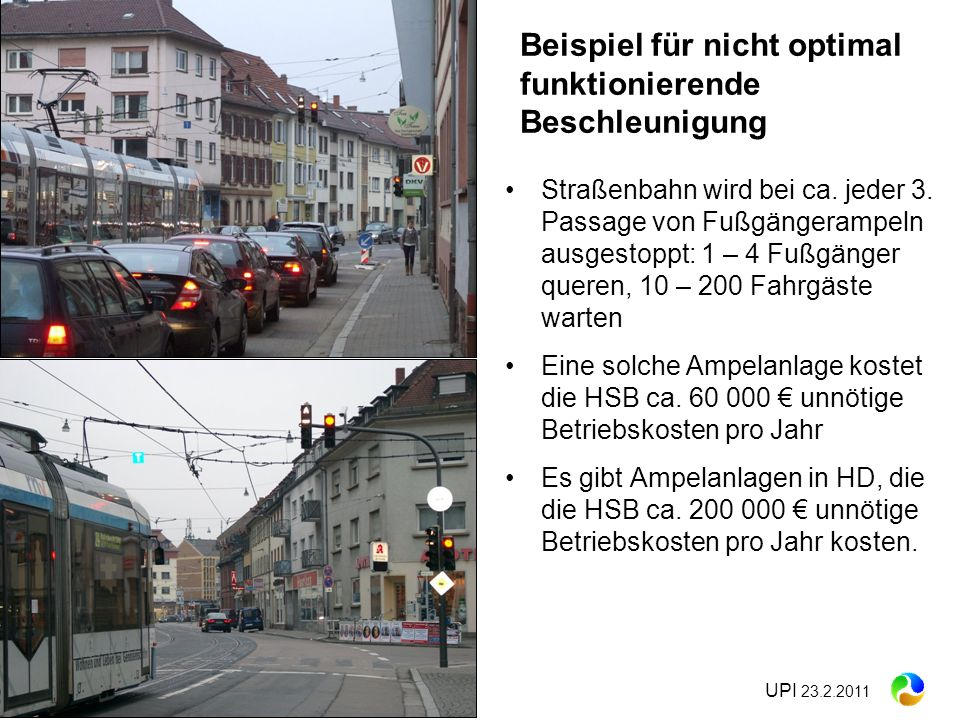 UPI 23.2.2011 Straßenbahn wird bei ca. jeder 3. Passage von Fußgängerampeln ausgestoppt: 1 – 4 Fußgänger queren, 10 – 200 Fahrgäste warten Eine solche