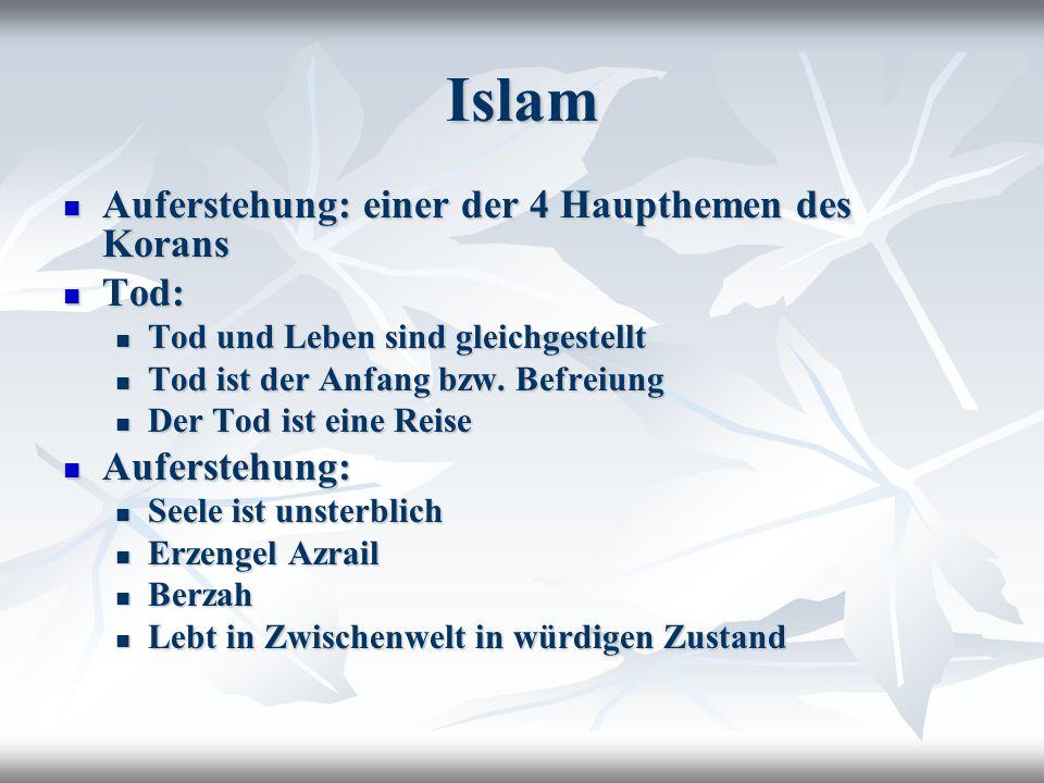 Islam Auferstehung: einer der 4 Haupthemen des Korans Auferstehung: einer der 4 Haupthemen des Korans Tod: Tod: Tod und Leben sind gleichgestellt Tod und Leben sind gleichgestellt Tod ist der Anfang bzw.