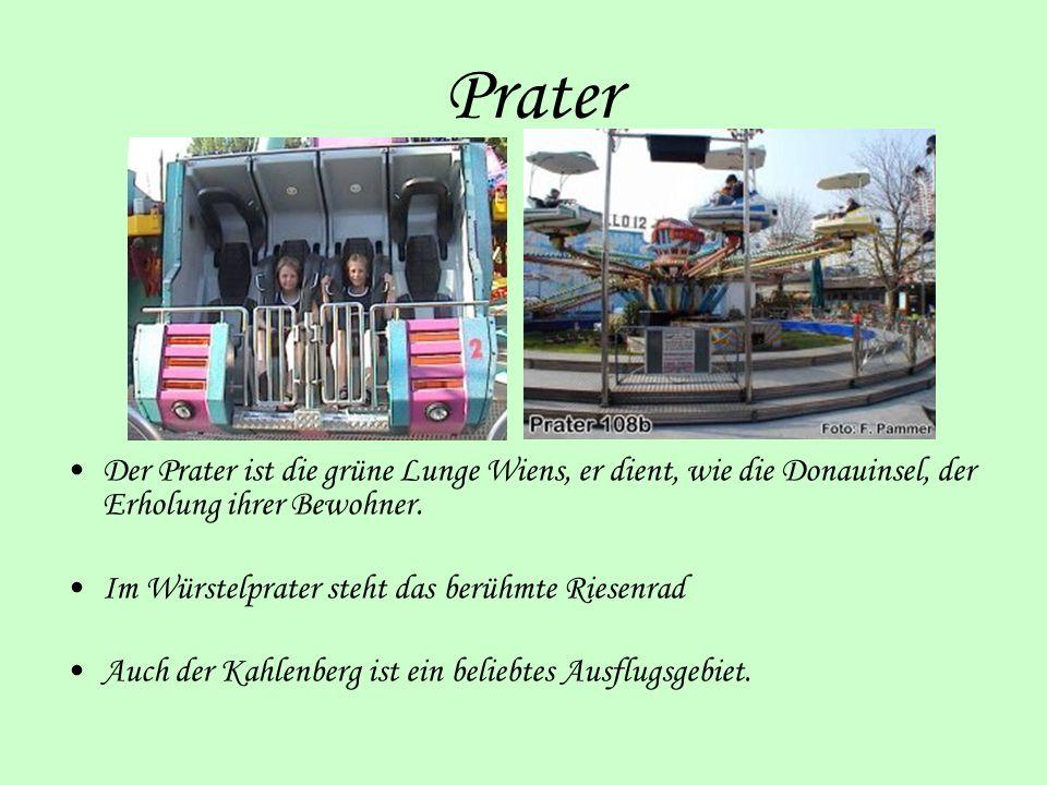 Prater Der Prater ist die grüne Lunge Wiens, er dient, wie die Donauinsel, der Erholung ihrer Bewohner. Im Würstelprater steht das berühmte Riesenrad