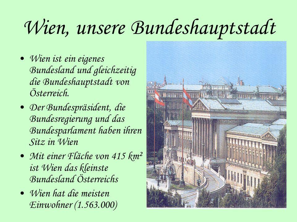 Wien, unsere Bundeshauptstadt Wien ist ein eigenes Bundesland und gleichzeitig die Bundeshauptstadt von Österreich. Der Bundespräsident, die Bundesreg