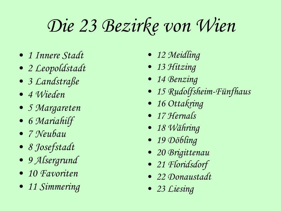 Die 23 Bezirke von Wien 1 Innere Stadt 2 Leopoldstadt 3 Landstraße 4 Wieden 5 Margareten 6 Mariahilf 7 Neubau 8 Josefstadt 9 Alsergrund 10 Favoriten 1