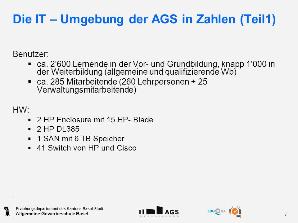 Erziehungsdepartement des Kantons Basel-Stadt Allgemeine Gewerbeschule Basel 33 Die IT – Umgebung der AGS in Zahlen (Teil1) Benutzer: ca.