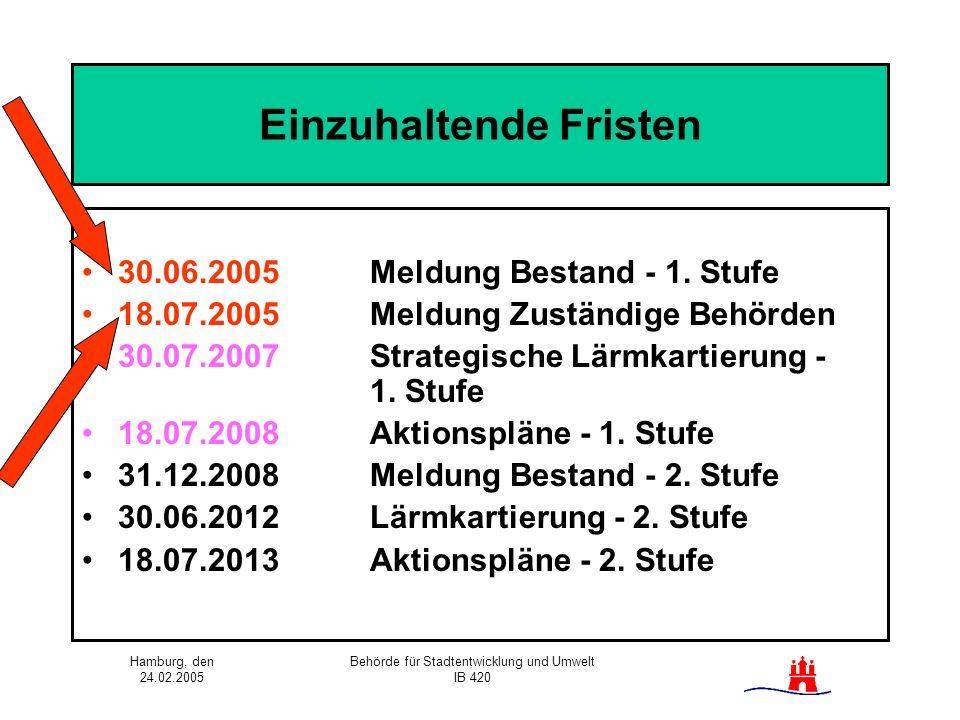 Hamburg, den 24.02.2005 Behörde für Stadtentwicklung und Umwelt IB 420 Einzuhaltende Fristen 30.06.2005 Meldung Bestand - 1. Stufe 18.07.2005Meldung Z