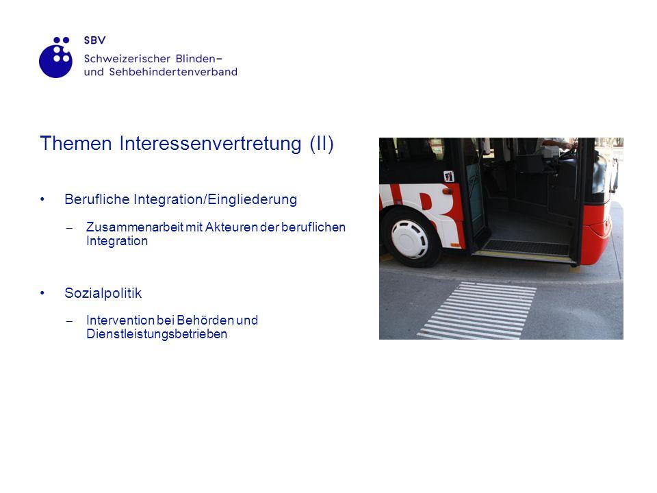Themen Interessenvertretung (II) Berufliche Integration/Eingliederung Zusammenarbeit mit Akteuren der beruflichen Integration Sozialpolitik Intervention bei Behörden und Dienstleistungsbetrieben