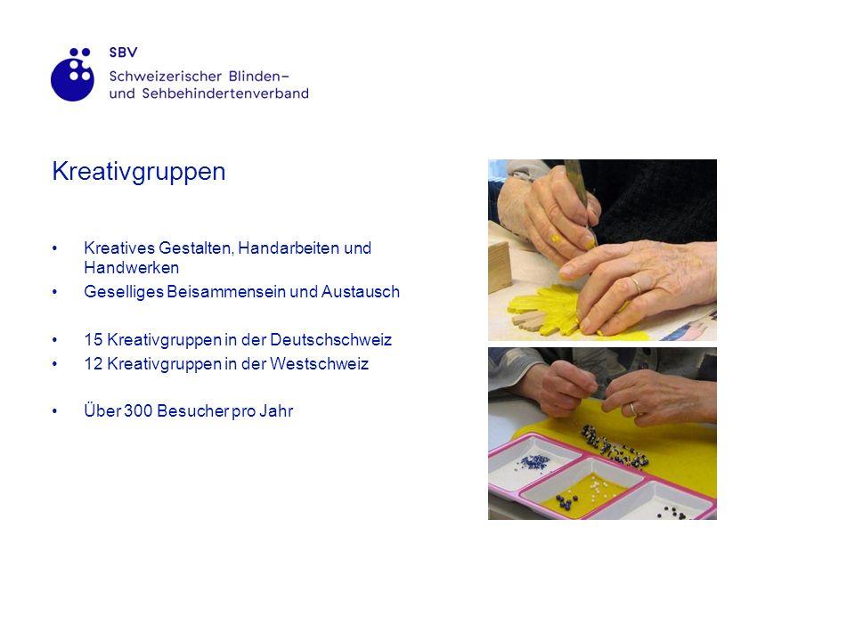 Kreativgruppen Kreatives Gestalten, Handarbeiten und Handwerken Geselliges Beisammensein und Austausch 15 Kreativgruppen in der Deutschschweiz 12 Kreativgruppen in der Westschweiz Über 300 Besucher pro Jahr