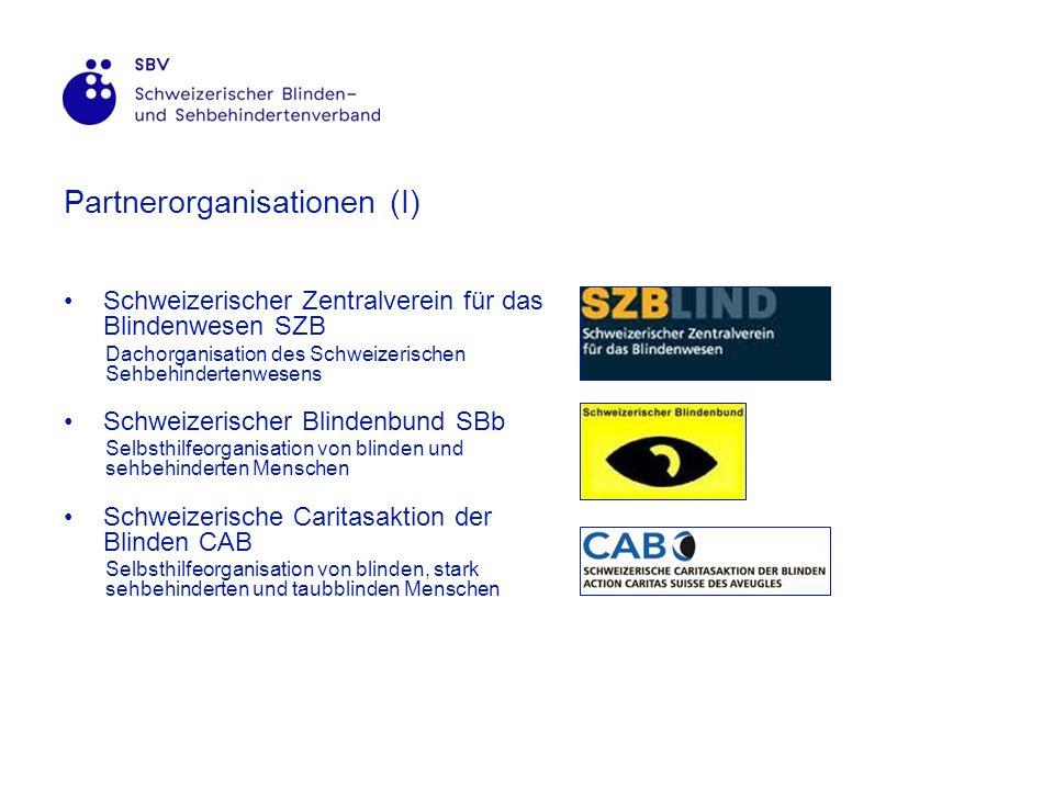 Partnerorganisationen (I) Schweizerischer Zentralverein für das Blindenwesen SZB Dachorganisation des Schweizerischen Sehbehindertenwesens Schweizerischer Blindenbund SBb Selbsthilfeorganisation von blinden und sehbehinderten Menschen Schweizerische Caritasaktion der Blinden CAB Selbsthilfeorganisation von blinden, stark sehbehinderten und taubblinden Menschen