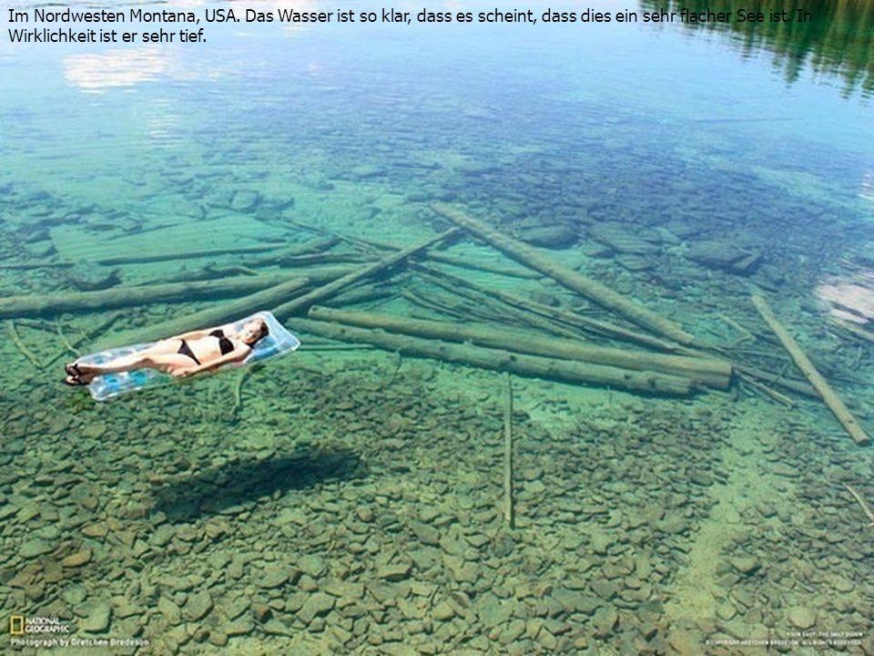 Im Nordwesten Montana, USA. Das Wasser ist so klar, dass es scheint, dass dies ein sehr flacher See ist. In Wirklichkeit ist er sehr tief.