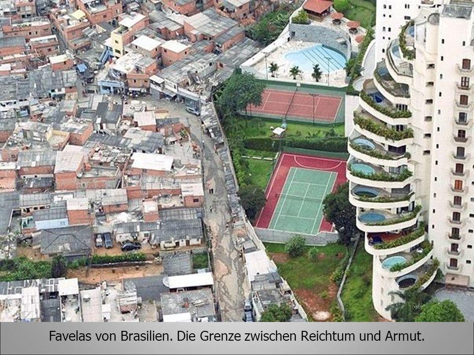 Favelas von Brasilien. Die Grenze zwischen Reichtum und Armut.