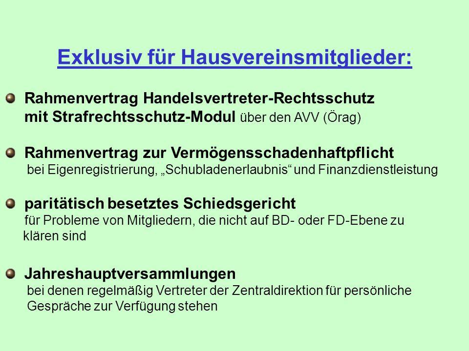 Exklusiv für Hausvereinsmitglieder: Rahmenvertrag zur Vermögensschadenhaftpflicht bei Eigenregistrierung, Schubladenerlaubnis und Finanzdienstleistung